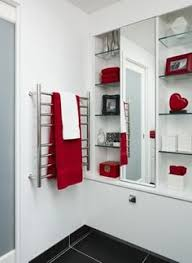 bathroom ideas black and white and red