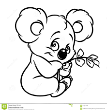 koala eucalyptus leaves coloring page stock illustration image