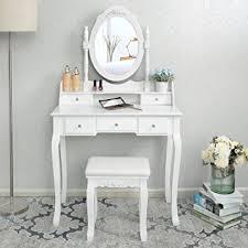 coiffeuse blanche si e avec miroir inclus songmics coiffeuse table blanche de maquillage avec miroir 5