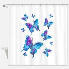 Blue Butterfly Curtains Butterfly Shower Curtains Cafepress