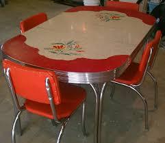set de cuisine retro vintage kitchen formica table 4 chairs chrome orange white