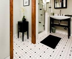 enchanting black and white octagon bathroom floor tile for home