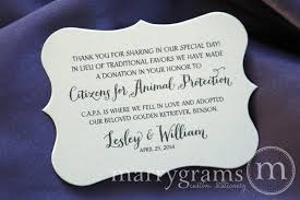 reception card wedding donation favor cards horizontal in lieu of thick style
