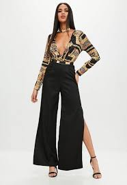 s sleeve jumpsuit printed wrap front sleeve jumpsuit missguided