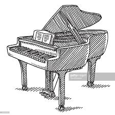 keyboard instrument grand piano drawing vector art getty images
