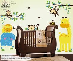 Jungle Wall Decal For Nursery Jungle Wall Decal With 3 Monkey Decals Giraffe Elephant And Birds