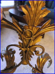 Candelabra Wall Sconces Antique Vintage Large Heavy 4 Arm Brass Ornate Wall Sconce