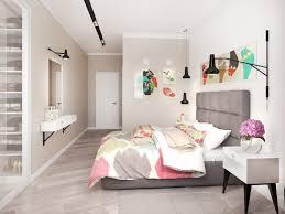 chambre cosy lit revêtu de tissu gris taupe peinture beige sol