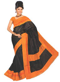 orange and blue combination buy black and orange combination semi bhagalpuri saree apparel