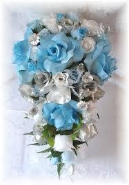 wedding flowers blue and white silk wedding flowers silk bridal bouquets