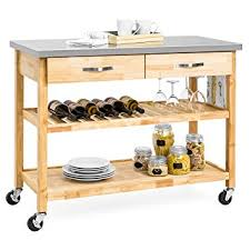 mobile kitchen island amazon com best choice products natural wood mobile kitchen