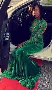 vintage green velvet prom dresses lace appliques beading sheer