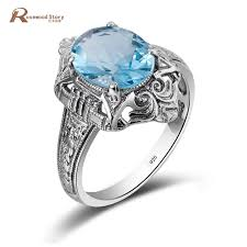 engagement rings with blue stones aliexpress buy trendy wedding engagement ring with sky blue