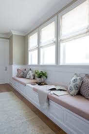 built in window seat long bedroom window seat with blush pink linen cushions