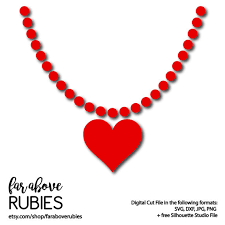 heart bead necklace images Valentine 39 s day heart bead necklace svg dxf png jpg digital jpg