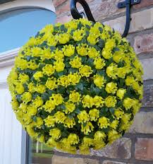 Hanging Topiary Single Artificial 28cm Yellow Rose Topiary Ball The Artificial