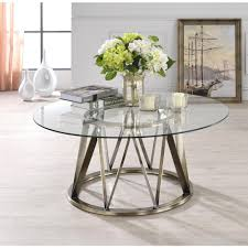 acme furniture perjan clear glass and antique brass coffee table