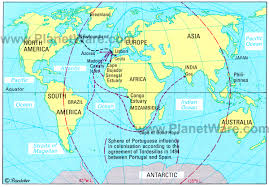 Christopher Columbus Route Map by Theageofdiscovery The Treaty Of Tordesillas