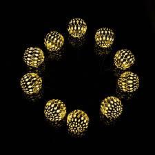 solar powered string lights modern home solar led string lights moroccan metal globe