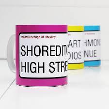 personalised u0027street sign u0027 mugs by a piece of notonthehighstreet com