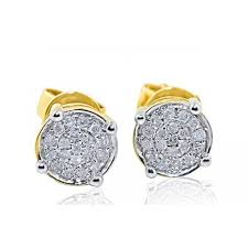 gold diamond stud earrings gold diamond stud earrings 0 15cttw cluster earrings 6 5mm wide