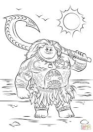 maui from moana coloring page within photo to coloring page