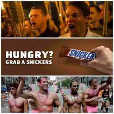 Snickers Commercial Meme - dopl3r com memes hungry grab a snickers