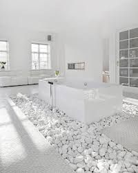 White Bathroom Ideas Total Whiteout White Rocks White Floors White Walls And