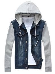 men vintage splice hoo denim jacket long sleeves detachable cap