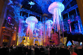 jellyfish and tropical fish mobiles dangled overhead in the