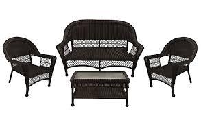 White Resin Wicker Loveseat 4 Piece Brown Resin Wicker Patio Furniture Set 2 Chairs