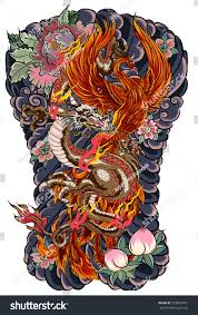 japanese tattoo design full back body stock vector 723867295