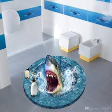 3d broken floor generic jaws penguin water amazed bathroom wall