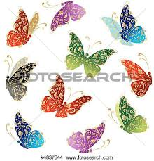 clipart of beautiful butterfly flying floral golden ornament