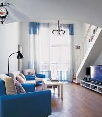 white blue fusion for classic living room decorating