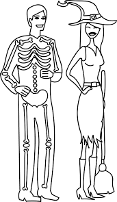 halloween costume skeleton man and witch contest coloring