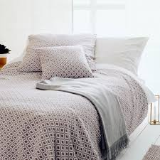Cotton Quilted Bedspread Viana Cotton Quilt Natural U0026amp White Geometric Design