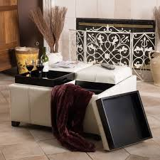 dartmouth four sectioned cream bonded leather cube storage ottoman