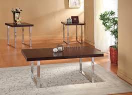 light espresso top modern 3pc coffee table set w nickel legs
