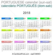 Calendario 2018 Feriados Portugal Ilustración De Archivo De Portugués Carboncillos Domingo