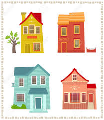 two story houses set of four colorful two story houses