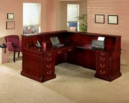 How To Build Reception Desk by Modern Black Varnished Acacia Wood Desk With Bar Table Top Surface