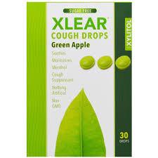 xlear xylitol cough drops sugar free green apple 30 drops
