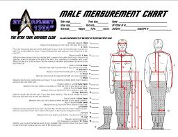 sf1701st measurement charts star trek starfleet uniform club