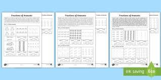 year 2 fractions of amounts homework activity sheet maths