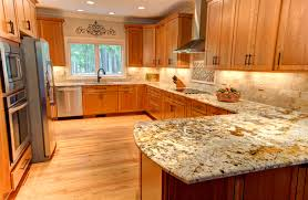 Natural Cherry Shaker Kitchen Cabinets The Structure And The Color Of Oak Through Brown Color Of Its