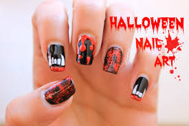 halloween nail art vampire teeth blood splatter blood dripping