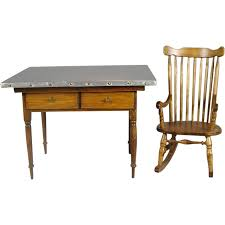 Kitchen Work Table by Dollhouse Miniature Wood Kitchen Work Table W Metal Top Windsor