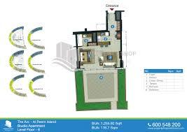 floor plans of the arc tower al reem island studio 716 sqft plus terrace