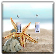 beach light switch covers star fish sea shell beach light switch plate cover wall decor